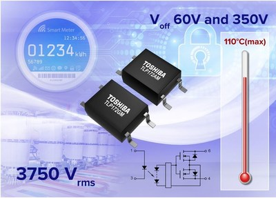 Toshiba's new compact photorelays operate at temperatures up to 110°C, feature an isolation voltage of up to 3750Vrms and have a 3mA (max) trigger current.