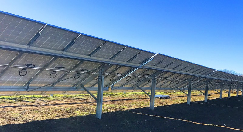 WakeSun Community Solar Garden installed with Solar FlexRack, solar racking that safeguards customers' investment in solar projects.