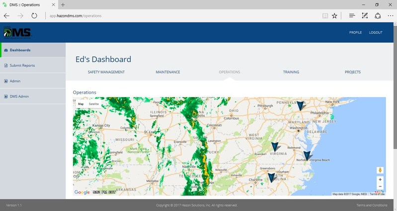 Use DMS to manage customer jobs, plan projects, and assign aircraft and task flight crews. Personnel at the office can always have access to a project's details and status, even while teams are on the road, through the Operations Dashboard. DMS can support a distributed network with ease.