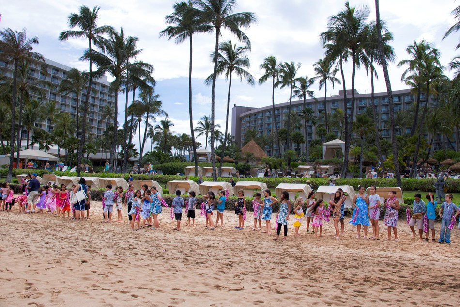 As part of the resort's May Day Celebrations in Hawaii, students from Kula Kaiapuni O Maui Ma Nahienaena joined resort guests and general public for the Longest Lei Exchange fronting The Westin Maui Resort & Spa on Ka'anapali Beach.