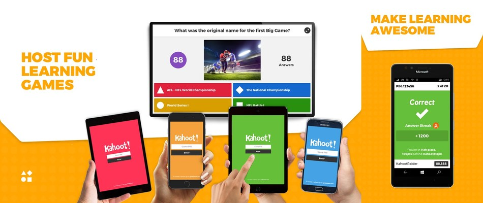 Screenshots from the Kahoot! Create and Kahoot! Play Windows apps