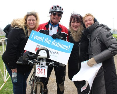 Top Paris to Ancaster fundraiser, John Pierroz of Team Scleroderma Research, inspired donations of more than $10,000 so his wife, Sharon, may benefit from the innovative Scleroderma research underway at St. Joseph's Healthcare Hamilton. (CNW Group/St. Joseph's Healthcare Foundation)
