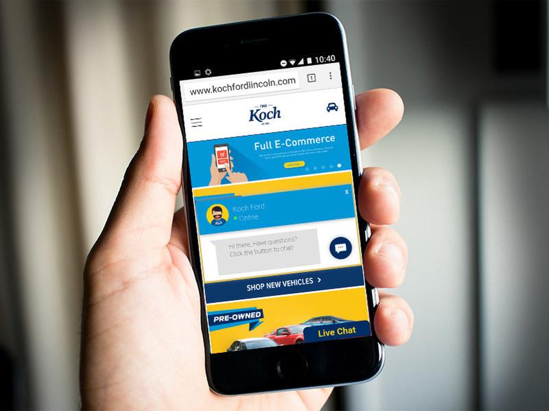 Mobile e-commerce dealership website.