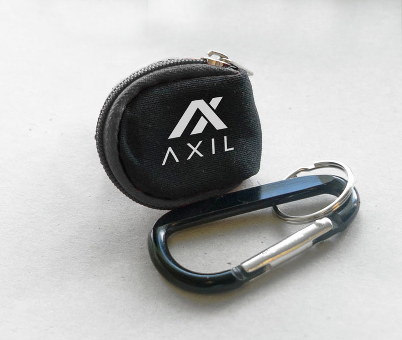 The water-durable carrying case and carabiner that every supporter will receive if Axil reaches its stretch goal of $200,000.
