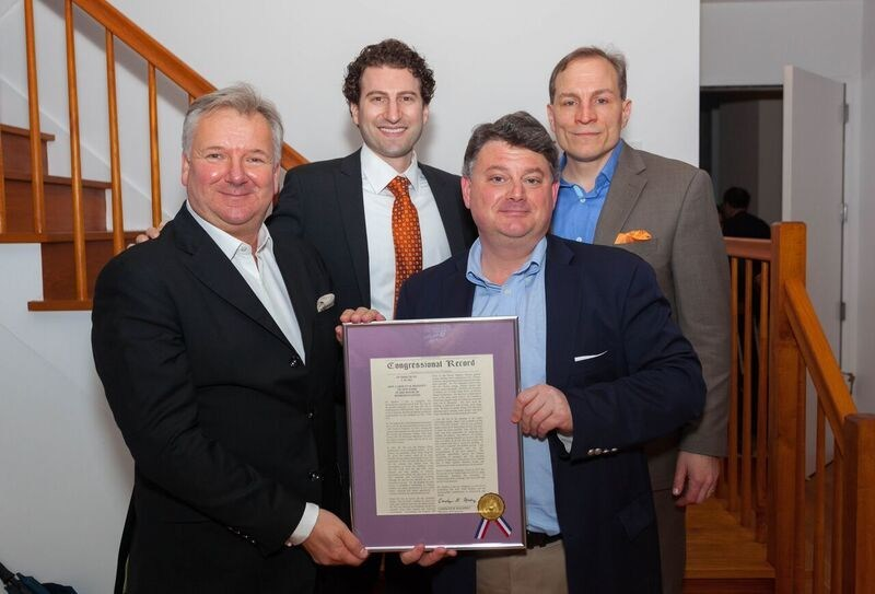 First Row L-R: Thomas Guss, President of New York Residence; Julius Schwarz, President of the Board – Centurion Condominium; both holding the Congressional Record / Second Row L-R: Jeffrey S. Mailman, Candidate for City Council District 4; Richard Pino, Chief Financial Officer of New York Residence