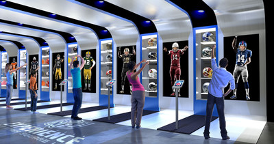 "Using a combination of enhanced visual effects and Kinect technology, fans can then ""Suit Up"" as part of their favorite NFL team. (CNW Group/Cirque du Soleil Canada inc.)"