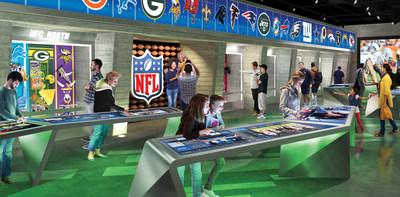 Les participants peuvent mettre à l'épreuve leurs connaissances de leur équipe préférée au moyen de plus de 20 postes dotés d'écrans tactiles interactifs représentant les 32 équipes de la NFL (Groupe CNW/Cirque du Soleil Canada inc.)