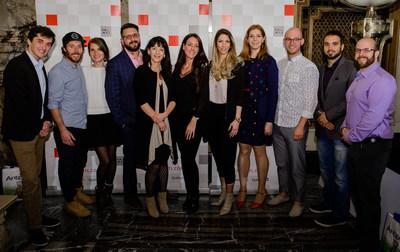 À l'hôtel de ville de Montréal, plusieurs nouveaux entrepreneurs ont été récompensés dans le cadre du Défi PME MTL, organisateur de la finale régionale OSEntreprendre.  Dans l'ordre habituel : Bastien Abraham de SpiritEvent, David Côté et Julie Poitras-Saulnier de Jus Loop, Jacob Charbonneau de Réclamation vol en retard Canada, Géraldine Martin, Directrice de l'entrepreneuriat à la Ville de Montréal, Valérie Munger et Silvia Gallo de Matletik, Émilie Nollet et Olivier Demers-Dubé, ÉAU, Gabriel Dupras et François Roy-Moisan de Sollum Technologies. Photo : Sylvie-Ann Paré. (Groupe CNW/PME MTL Centre-Ouest)