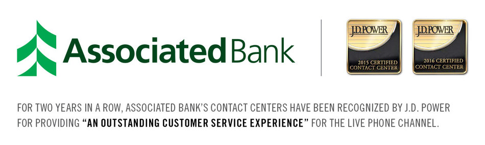 """For two years in a row, Associated Bank's contact centers have been recognized by J.D. Power for providing """"An Outstanding Customer Service Experience"""" for the live phone channel."""
