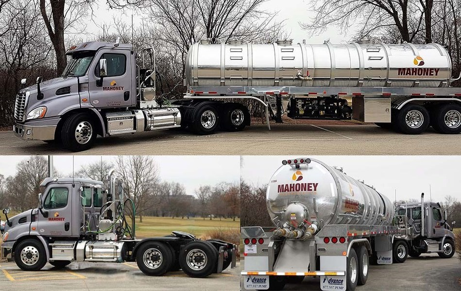 Mahoney Environmental's new freightliner tractors and advance trailers were unveiled to the company at their 2017 Kickoff Meeting. This was the first step in Mahoney's quest for reducing their carbon footprint through efficiency of their fleet.