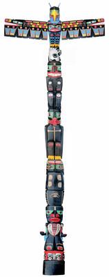 Charles Joseph (né en 1959), Mât totémique des pensionnats, 2014-2016, cèdre rouge, peinture acrylique, H. 1 524 ; L. 762 ; D. 152,4 cm. Collection particulière. Photo Greg McKee 2016 (Groupe CNW/Société des célébrations du 375e anniversaire de Montréal)