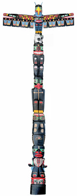 Charles Joseph (born in 1959), Residential School Totem Pole, 2014-2016, red cedar, acrylic paint, H. 1,524; W.  ...