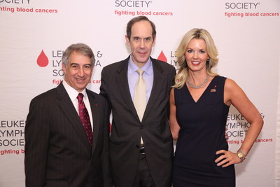 Dr. Louis DeGennaro, President & CEO, The Leukemia & Lymphoma Society; Dr. Brian Druker, Oregon Health & Science University, and Stacy Sager, president of SAGERSTRONG Foundation and widow of Craig Sager.