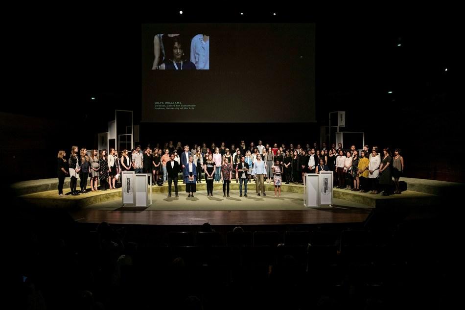 Youth Fashion Summit 2016 participants on stage at Copenhagen Fashion Summit (PRNewsfoto/Global Fashion Agenda)