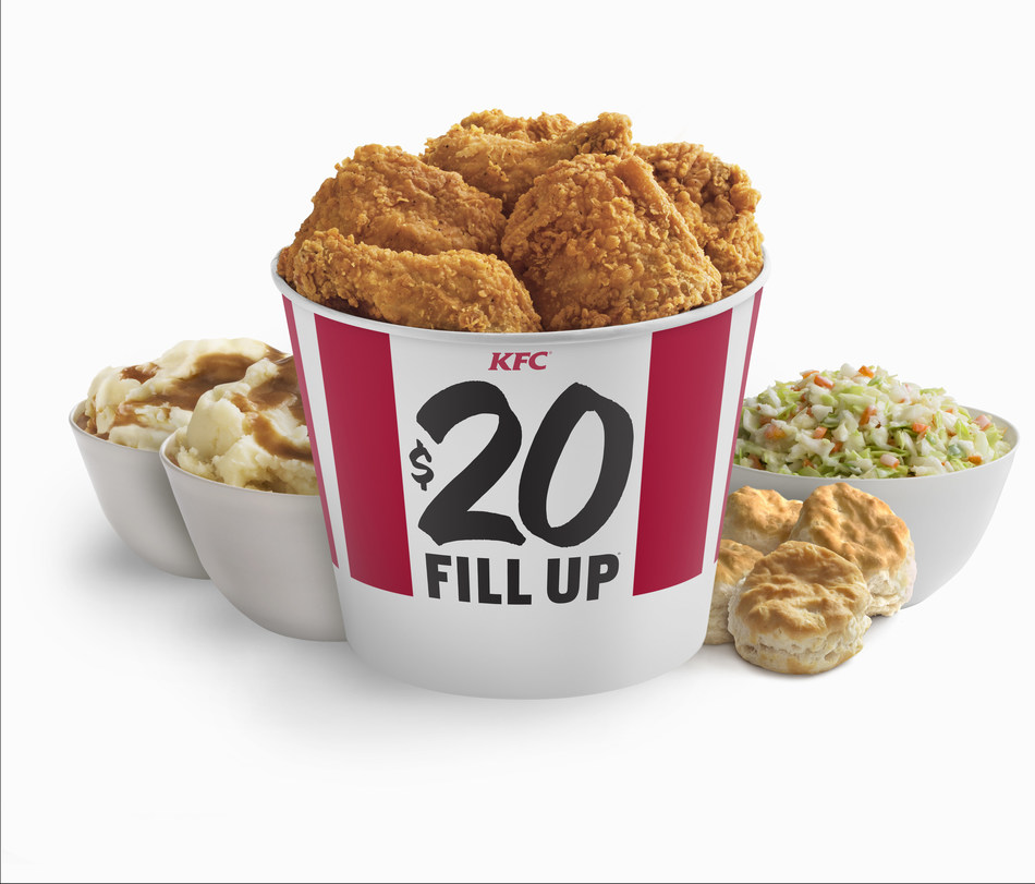 KFC $20 Fill Up™ featuring eight pieces of Extra Crispy™ Chicken, a large cole slaw, four biscuits and two large helpings of mashed potatoes and gravy.