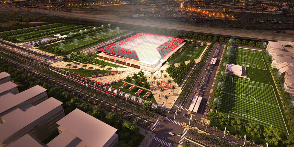 Artist rendering of a potential MLS stadium plan for Phoenix Rising FC. The site will be privately funded.