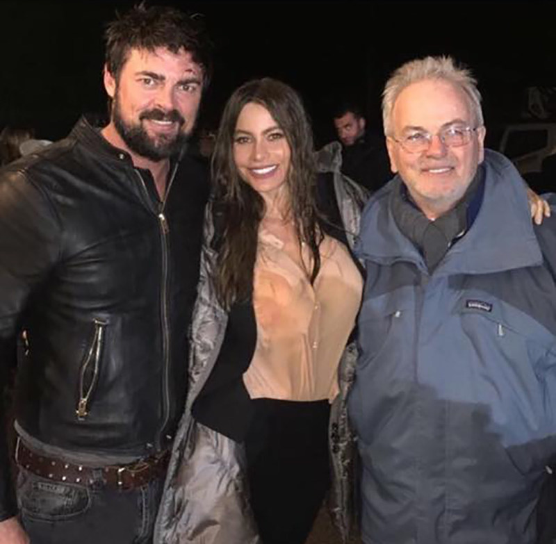 "Bobby Moresco with ""Bent"" stars Sofia Vergara and Karl Urban."