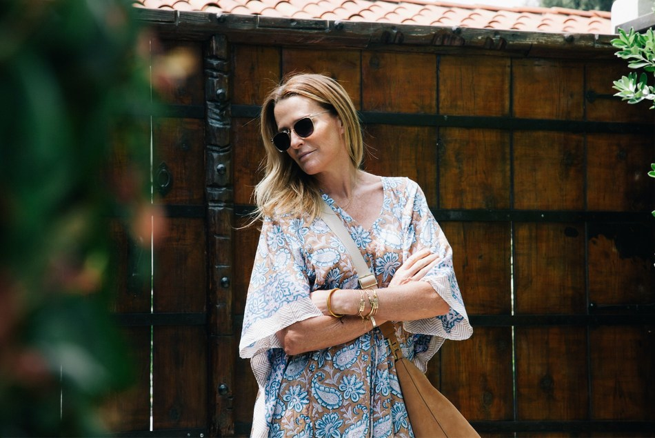 India Hicks models products from her new partnership with London-based optics brand Finlay & Co. and Los Angeles' holicow, an Indian textile company.