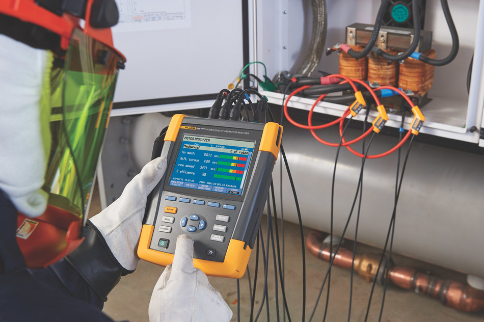 The Fluke 438-II analyzes three-phase power quality measurements and uses an innovative method developed by Veros to calculate motor output torque, speed, horsepower and efficiency. Using this information, engineers and technicians can evaluate system performance and detect overload conditions while the motor is operational, without the use of any mechanical sensing devices such as tachometers, strain gauges or other intrusive sensors.
