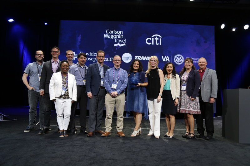 Jive Software CEO Elisa Steele with the elite 'Jive 5' Digital Transformation Award winners from Carlson Wagonlit Travel, Citi, Providence St. Joseph Health, Trane and the U.S. Department of Veterans Affairs at this week's JiveWorld17.
