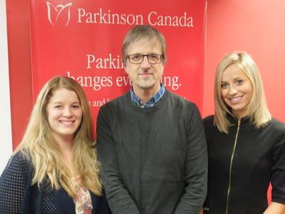 Les nouveaux employés de Parkinson Canada, financé par la Fondation Trillium de l'Ontario, Margaux Wolfe, à gauche, Paul Scibetta et Marielle Henderson, offrent des services d'information et de soutien à plus d'Ontariennes et Ontariens. (Groupe CNW/Parkinson Canada)