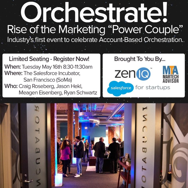 "Orchestrate! brings to life the best of Account Based Orchestration so you can learn from thought leaders, innovators, and your peers. ""The Rise of the Marketing Power Couple"" is the first event in the Orchestrate series and focuses on the relationship dynamics and synergy between strategy, demand gen, and marketing ops. Learn more at: http://www.zeniq.io/orchestrate-rise-marketing-power-couple-blog/"