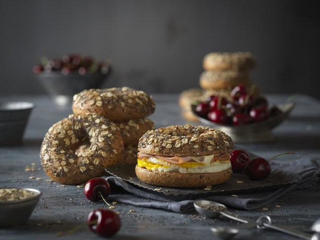Einstein Bros. Bagels new sweet, oat-topped Cherry Chia Bagel is boosted with 300mg of omega-3 ALA and 12g of protein.
