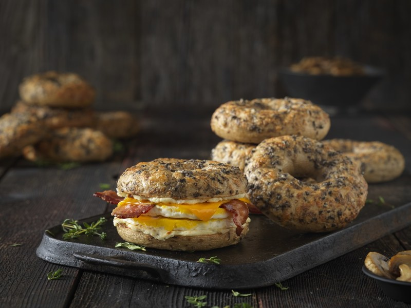 Einstein Bros. Bagels new mouth-watering Savory Parm Bagel is boosted with iron, B1, B2 and 12g of protein.