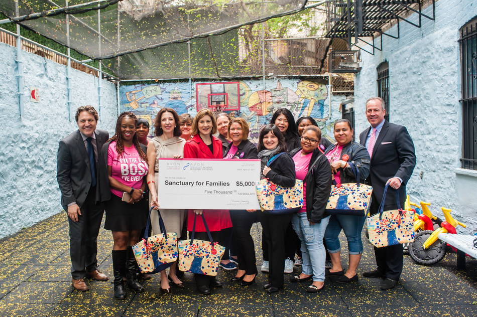 Avon Representatives and Avon Foundation for Women present a $5,000 grant to Sanctuary for Families, surpassing more than $675,000 total donations to the organization.