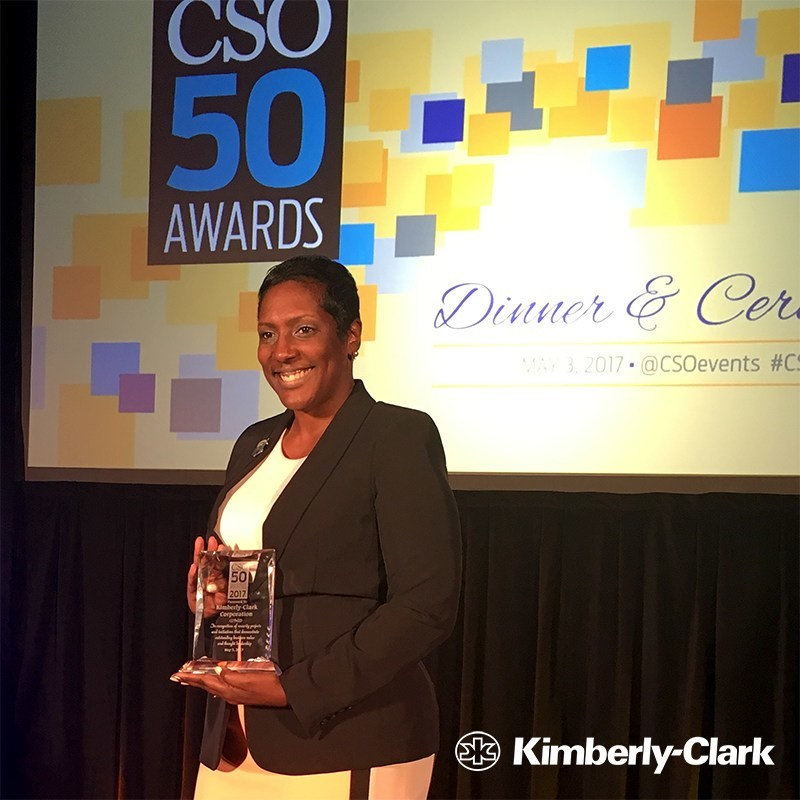 Victoria Thomas, information security awareness program lead for Kimberly-Clark, accepts the prestigious CSO50 Award at the annual CSO50 Conference in Scottsdale.