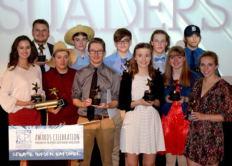 The Detroit Auto Dealers Association (DADA) hosted its annual Courageous Persuaders Awards Celebration on Wednesday, May 3 at the Emagine Theater in Royal Oak, MI, where nearly $30,000 in scholarships and awards were granted to high school students across the nation. Pictured are the winning students whose videos raised awareness amongst their peers on the dangers of underage drinking, drinking and driving and texting while driving.
