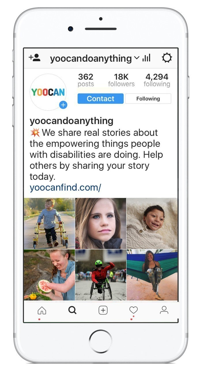 A snapshot of the @yoocandoanything account with empowering daily stories