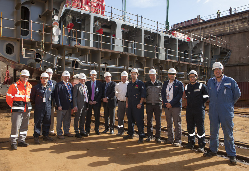 Matson and Philly Shipyard executives celebrate a milestone in construction of the biggest containership built in the U.S. at the shipyard this morning.
