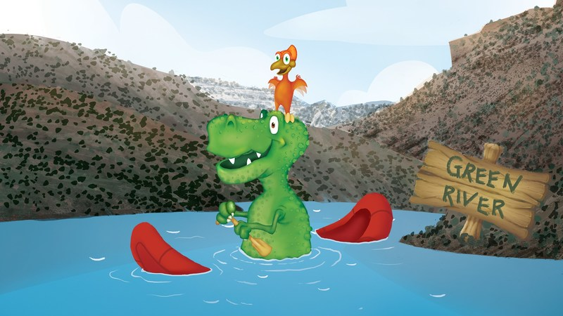 "Vern and Al sit on a raft in the Green River. The two dinosaur characters are the subjects of the ""Origin of Adventure"" campaign. The campaign has now won three awards this year alone, including a SAMY, Telly and Stevie award."