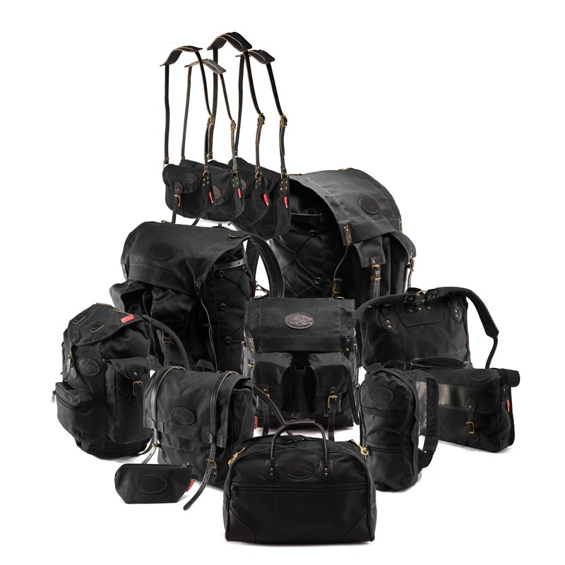 Frost River Heritage Black family of waxed canvas packs and bags handcrafted in Duluth, Minnesota