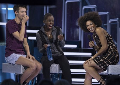 "(L t R) William Laprise Desbiens, Dre Gwenaelle and host Arisa Cox share a laugh on stage after the ""French Connection's"" eviction on Big Brother Canada (CNW Group/Global Television)"
