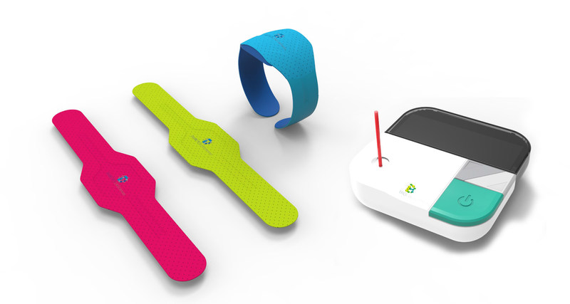 Ram Group wearable and handheld Point-of-Care diagnostics systems. POC device with capillary tube for finger prick blood sample. Running test time of less than 10 minutes for up to 32 tests.