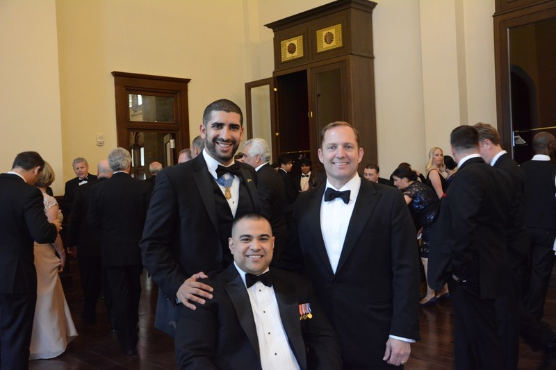 Corporal Josh Himan, USMC (ret.), with Medal of Honor Recipient Captain Florent Groberg (left) and PenFed Foundation CEO James Schenck (right) before Josh received his award.
