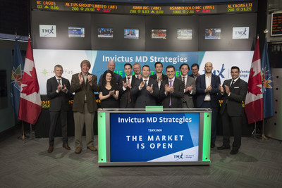 Dan Kriznic, Executive Chairman, Invictus MD Strategies Corp. (IMH), joined Brady Fletcher, Managing Director, TSX Venture Exchange, to open the market. Based out of Vancouver, British Columbia, Invictus MD is a cannabis company with a portfolio of licensed producers in Alberta and Ontario under the Access to Cannabis for Medical Purposes Regulations (ACMPR). Invictus MD maintains a land package of 250 acres of buildable property, and cultivates high-quality, regulated pharma-grade cannabis for medical use and for the recreational market when legalized. Invictus MD Strategies Corp. commenced trading on TSX Venture Exchange on March 31, 2017. (CNW Group/TMX Group Limited)