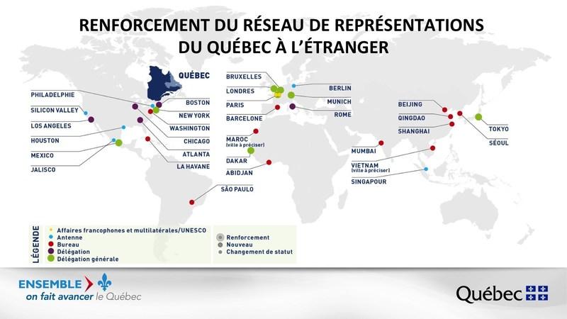 Renforcement du réseau de représentations du Québec à l'étranger (Groupe CNW/Cabinet de la ministre des Relations internationales et de la Francophonie)