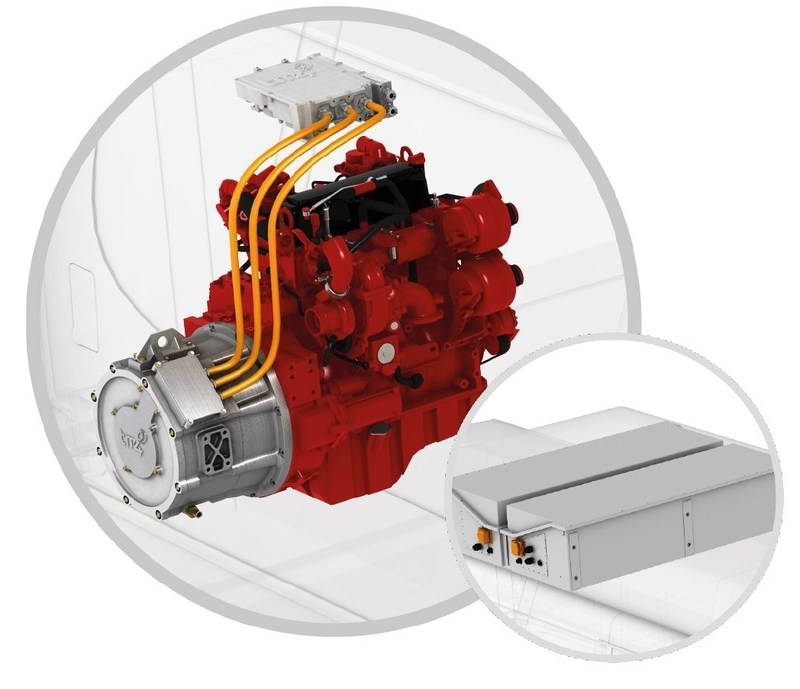 The system consists of a gen-set (Cummins' Euro 2019 B4.5 internal combustion engine coupled with TM4's LSG130 electric generator), an external ultrafast charging infrastructure, a power collector, a 111 kWh onboard Li-ions battery, a TM4 SUMO electric motor directly connected to the differential, a small fuel tank and power electronics. (CNW Group/TM4 Inc.)