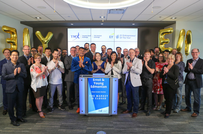 Ross Haffie, Edmonton Office Managing Partner, Ernst & Young, joined Kyle Araki, Director, Capital Formation, TSX Venture Exchange to close the market. EY Edmonton is celebrating their region's EY Entrepreneur Of The Year Awards program. The EY Entrepreneur Of The Year Awards is a year-long, multi-event program that culminates in finalist and alumni events throughout Canada in September and October and a National awards gala in Toronto in November. Toronto Stock Exchange and TSX Venture Exchange are national presenting sponsors of the 2017 EY Entrepreneur Of The Year Awards. (CNW Group/TMX Group Limited)