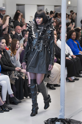 A model dons a gothic look created by emerging designer Anna Loosli as part of the School of the Art Institute of Chicago's 2017 Fashion Show, presented at Spertus Institute Friday, May 5th. (Photo by Jim Prinz for SAIC)