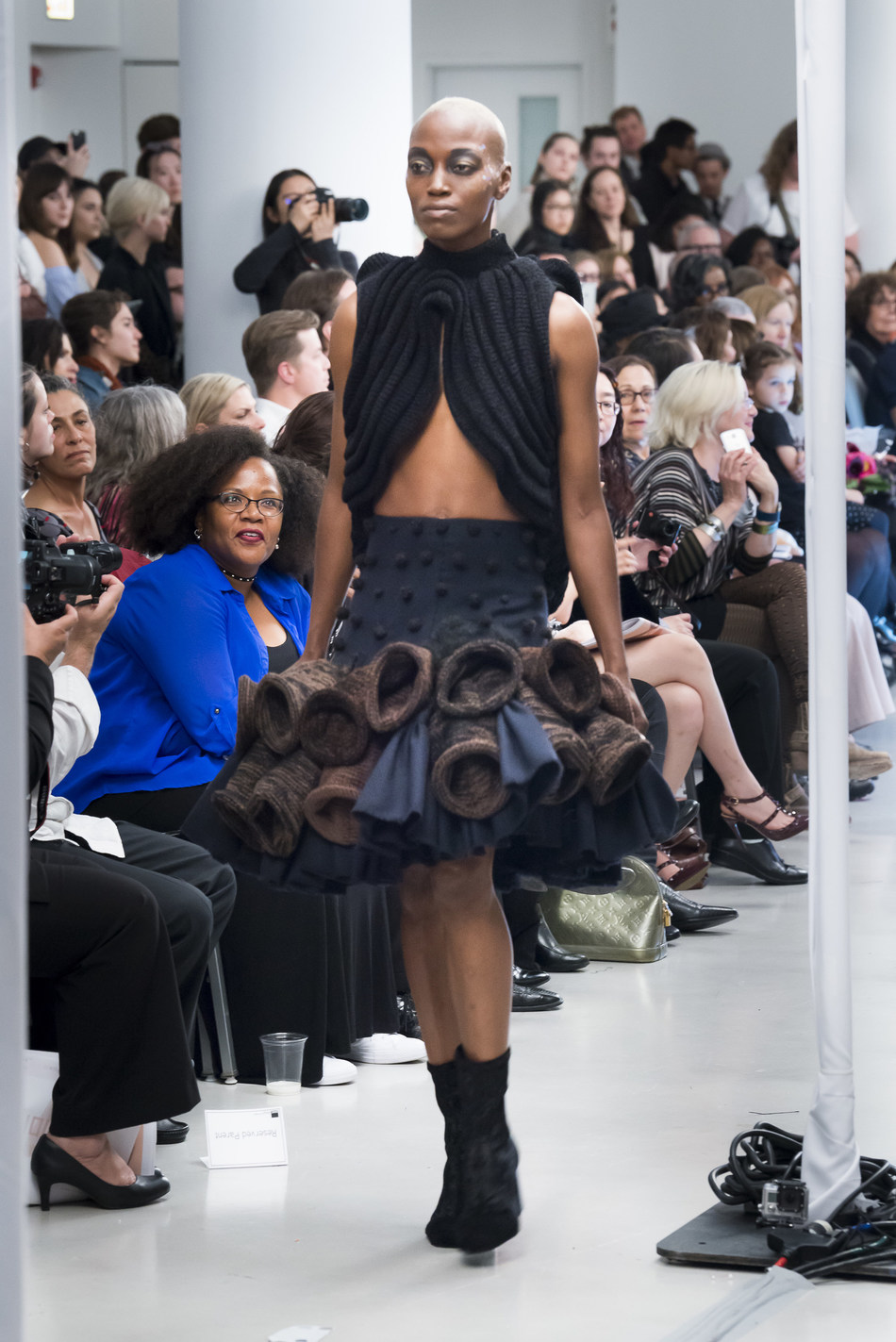 More than 500 people showed up to the 83rd School of the Art Institute of Chicago Fashion Show on Friday, May 5th at VenueSix10 at the Spertus Institute to see the imaginative collections from 20 emerging designers, including this work by Michel'Le Forrest. (Photo by Jim Prinz for SAIC)