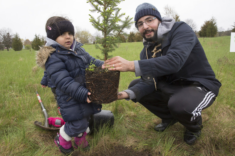 Across the province almost 200 volunteers of all ages planted more than 1000 trees. All trees planted through Forests Ontario's Community Planting Weekend will be counted towards Ontario's Green Leaf Challenge. (CNW Group/Forests Ontario)