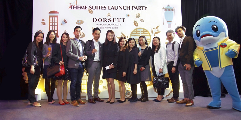 Ms Anita Chan, the General Manager of Dorsett Wanchai (6th from left) with major OTAs