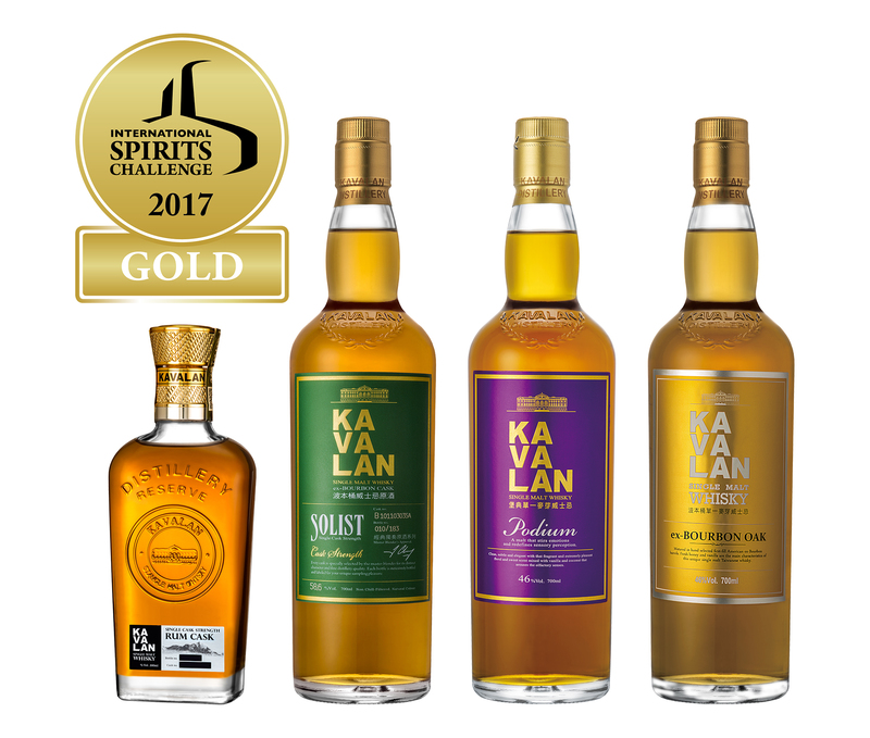 Kavalan wins four Golds at International Spirits Challenge