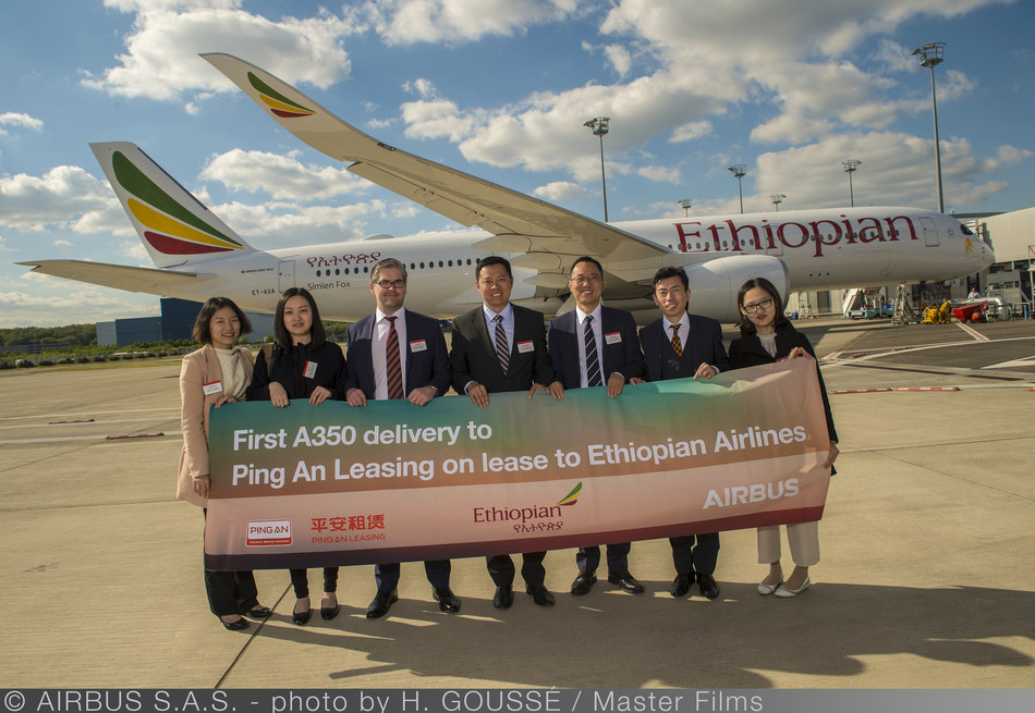 Ping An Leasing delivers Airbus A350-900XWB wide-body aircraft on sale and leaseback to Ethiopian Airlines