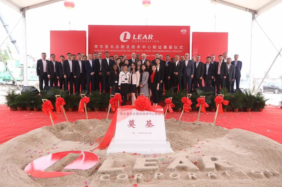 Lear Asia Headquarters Groundbreaking Ceremony in Shanghai on May 7, 2017.  The speakers for the ceremony were Mr. Jay Kunkel, Lear SVP and President, Asia Pacific, Mr. Tan Bin, Vice Mayor of Yangpu Government and Mr. Hanscom Smith, US Consul General in Shanghai.