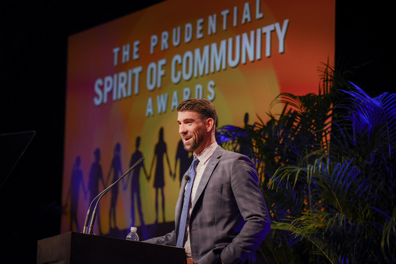 Olympic gold medalist Michael Phelps congratulates top youth volunteers from across the United States at the 22nd annual Prudential Spirit of Community Awards. The 2017 State Honorees were each recognized at a ceremony on Sunday, May 7 at the Smithsonian's National Museum of Natural History.